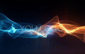 紅藍彩帶交匯穿梭炫酷動態演繹企業商家logo宣傳會聲會影動畫模板