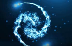 震撼蓝色粒子太极旋转碰撞爆炸演绎开场logo动画模板