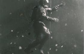 宇航员身着宇航服在外太空艰难行走c4d模型