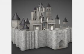 ?上世纪古代石头城堡欧式建筑c4d模型