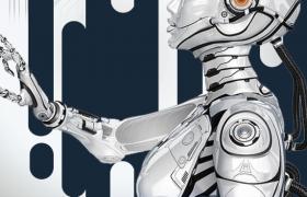 铝箔质感智能机器人工智能海报宣传素材