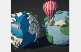卡通版低多边形地球、气球c4d模型