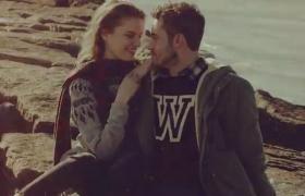 時尚的秋季情侶戶外圖片展示AE素材