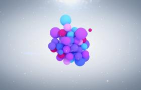 炫麗多彩的氣球聚集散開揭示logo徽標展示PR素材