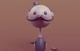 长满小胡子的卡通男人形象模型c4d模型