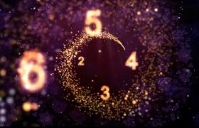 2020年唯美的彩色粒子束旋转揭示10秒倒计时数字背景视频素材