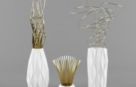 欧式风格现代饰品陶瓷器皿摆件c4d模型