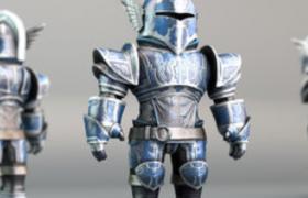 蓝色卡通盔甲战士玩偶c4d模型