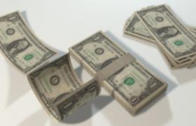 逼真的几沓美利坚和众国钞票C4D模型