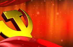 红色飘扬的绸缎金色的粒子党徽宣传片PR素材