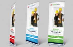 簡約素潔清新企業商用展架海報宣傳模板