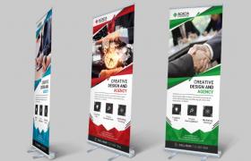 三款不同插图企业商用合作招聘展架海报宣传模板