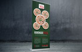 墨绿色打底美味披萨菜品展架宣传海报模板
