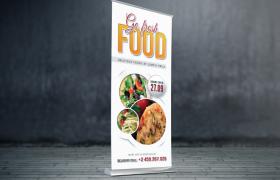 纯白简约背景food美食展架宣传海报素材