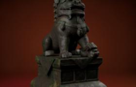 威风凛凛的雄性铜狮子c4d模型