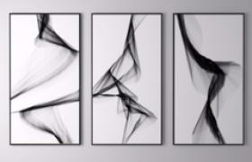 现代设计极简约室内装饰观赏画3D模型