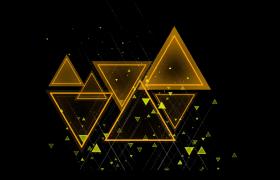 金色三角几何图形渐渐隐现舞台特效视频素材