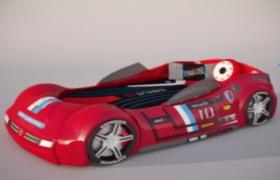 现代创意卡通汽车造型创意儿童床c4d模型