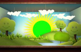 唯美绿色卡通星空动画少儿教育pr模板