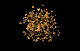 金色三棱锥旋转散开震撼高清动画特效视频素材