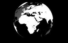 黑白3D立體地球旋轉動畫特效視頻素材