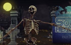 恐怖逗趣的萬圣節骷髏舞蹈視頻素材