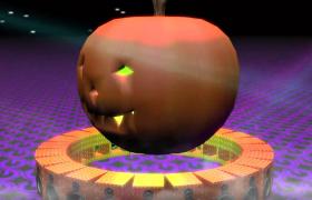 ?恐怖的萬圣節蘋果動畫舞臺背景LED視頻素材