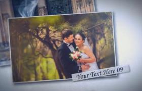 温馨浪漫的婚礼电子照片相册叠加展示AE素材
