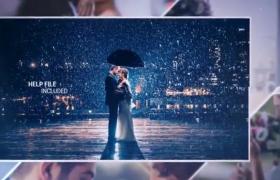 ?唯美浪漫的镜像叠加婚庆典礼开场相册展示AE素材