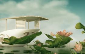 唯美的荷塘木船动画视频素材免费下载