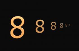 经典黑色背景金色空间立体数字翻转倒计时视频素材