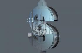 C4D美国美元钱币样式保险箱创意模型