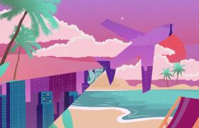 动漫卡通形式呈现场景切换旅游宣传视频素材
