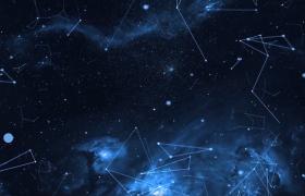 震撼蓝色科技粒子唯美星空星座连线视频素材