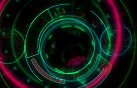 绿色炫酷圆形线条抖动演绎未来科技UI背景视频素材