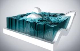 蓝色海洋玻璃低面C4D创意工程文件