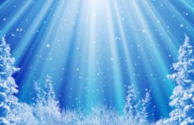 蓝色闪耀背景光束照射白色粒子唯美飘落圣诞节舞台背景视频素材
