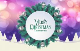 炫彩模糊光斑背景圣诞树旋转圣诞节主题特效视频素材