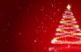 ?双色粒子旋转成圣诞树粒子唯美洒落圣诞节特效视频素材