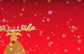 可爱麋鹿雪花飘落红色喜庆圣诞节庆祝特效视频素材