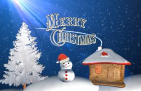 蓝色背景冬季下雪圣诞树雪人圣诞节庆祝特效视频素材下载