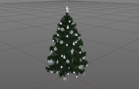 银色挂饰圣诞节饰品圣诞树C4D模型