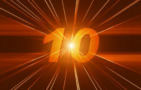 橙色光束照射下炫酷10秒倒计时特效视频素材下载