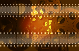電影播放器旋轉膠片移動動畫背景特效視頻素材