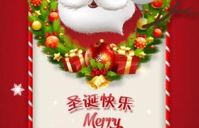 卡通动画呈现可爱圣诞老人雪人圣诞节庆祝广告海报宣传素材