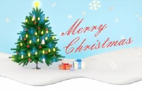 卡通简约清新下雪圣诞树插图圣诞节淘宝海报网页插图模板
