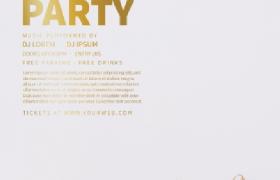 白色打底金色修饰时尚简约风新年贺卡广告海报素材