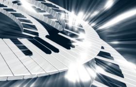 鋼琴鍵不斷循環旋轉光束閃耀音樂舞臺背景視頻素材