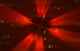 紅色光束四射旋轉抽象科技數字變化舞臺背景視頻素材參考