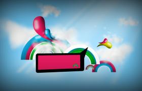 潮流彩虹宣传片小片头彩色对话框会声会影模版